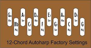 The standard chord bar arrangement for 12-chord autoharps.