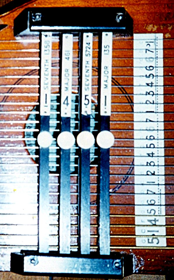 The Chord and String labels for an early 4-chord autoharp.