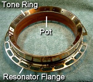 This breakdown shows where a tone ring would sit if your banjo had one.  Unless you spent a lot of money for it, your banjo probably doesn't.  Your back thanks you. Click for bigger photo