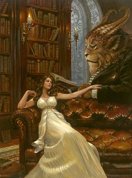Aaron Miller's painting of Beauty and the Beast in the library.  We include just to give an indication of Aaron's skill.  Click to go to his site.