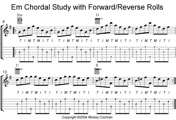 Banjo left handed banjo chords : Mickey Cochran's Introduction to Banjo Tablature